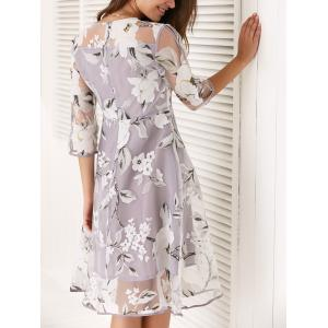 Round Neck 3/4 Sleeve Floral Print Spliced Dress -
