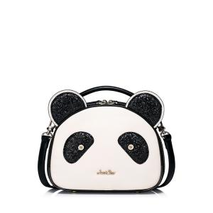 Panda Shape Sequined Tote Bag - White And Black - 40