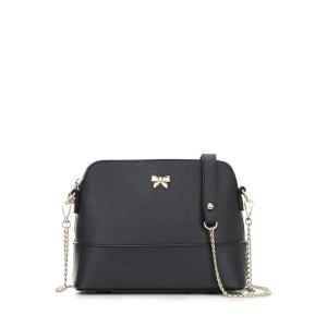 Bowknot Leather Shoulder Bag - Black - 39