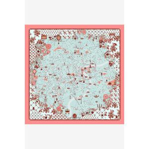 Chic Shanghai Map Landmark Small Square Scarf For Women