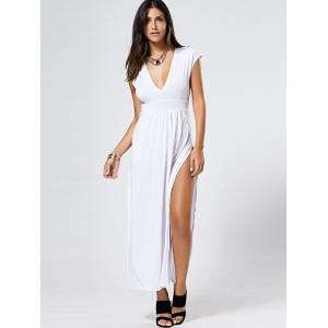 Maxi Plunge Neck Slit Nigh Out Dress - WHITE XL