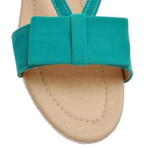 Leisure Bow and Flat Heel Design Sandals For Women - LAKE GREEN 38