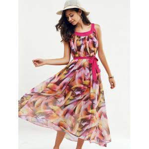 Scoop Neck Feather Print Belted Dress - ROSE RED L
