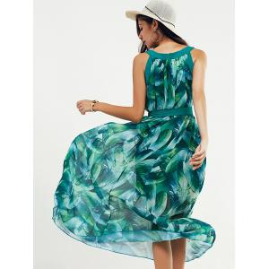 Scoop Neck Feather Print Belted Dress - JADE GREEN M