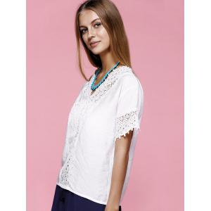 Lace Trim V Neck Blouse -