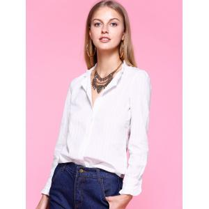 Sweet Ruched Collar White Shirt - WHITE XL