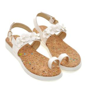 Ladylike Flower and Faux Pearls Design Sandals For Women -