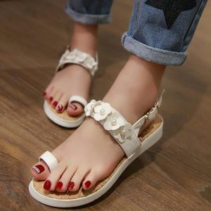 Ladylike Flower and Faux Pearls Design Sandals For Women - WHITE 37