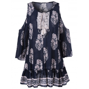 Fashionable Round Neck Cold Shoulder 3/4 Sleeve Print Blouse -