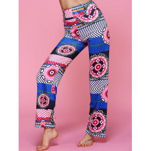 High Waisted Geometric Ethic Print Pants -