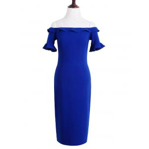 Stylish Off The Shoulder Sapphire Blue Ruffles Women's Dress -