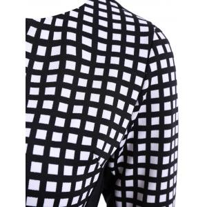 OL Style V-Neck Checked Print 3/4 Sleeve Pencil Dress For Women -