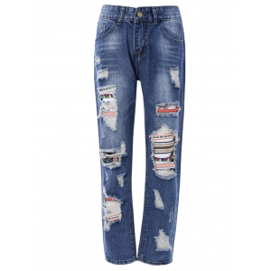 Bleach Wash Ripped Jeans -