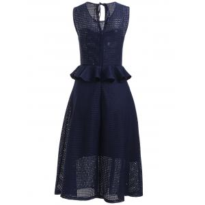 Stylish Women's Jewel Neck Sleeveless Ruffled Grid Dress -