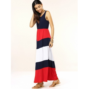 Trendy Sleeveless Spliced Color Block Women's Dress -