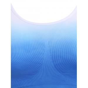 Gradient Strappy Racerback Sports Bra - BLUE/WHITE S