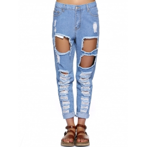 Stylish Women's Bleach Wash Ripped Jeans -
