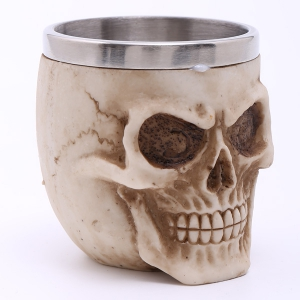 High Quality Carving 3D Skull Stainless Steel Vodka Liquor Cup -