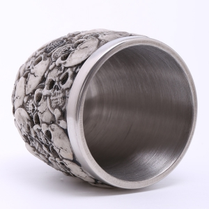 High Quality Carving 3D Skulls Stainless Steel Vodka Wine Cup -