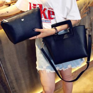 Fashion Snap Button and Color Block Design Tote Bag For Women - BLACK
