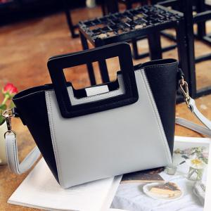 Fashion Snap Button and Color Block Design Tote Bag For Women - GRAY