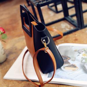 Fashion Snap Button and Color Block Design Tote Bag For Women -