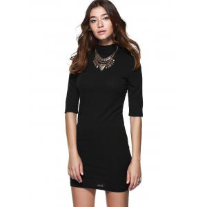 Round Neck 1/2 Sleeve Skinny Sweater Dress - BLACK M