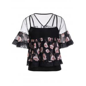 Chic Cami Black Tank Top + Lace Spliced Floral Print Blouse Women's Twinset -