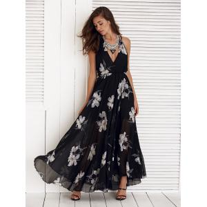 Floral Print Spaghetti Strap High Slit Chiffon Dress -