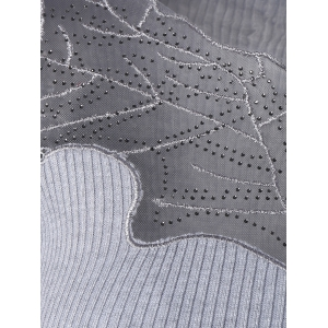Stylish See-Through Beaded Ribbed Knitwear For Women -