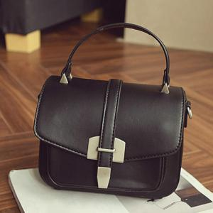 Fashionable Covered Closure and Metal Design Crossbody Bag For Women - BLACK