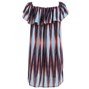 Fashionable Print Ruffled Off The Shoulder Dress For Women -