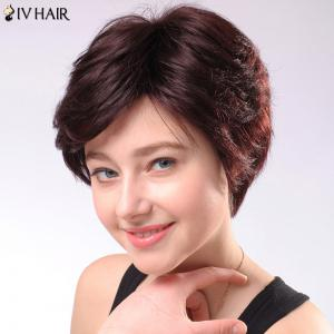 Refreshing Women's Short Fluffy Side Parting Siv Human Hair Wig -