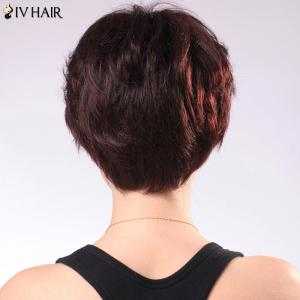 Refreshing Women's Short Fluffy Side Parting Siv Human Hair Wig - JET BLACK