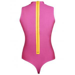 Round Neck Cut Put Pure Color One Piece Swimwear - ROSE MADDER L