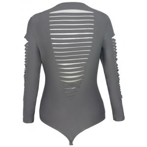 Long Sleeve Round Neck Cut Put Pure Color One Piece Swimwear - GRAY L