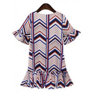 Sweet Women's Cuff Ruffle Zig Zag Fishtail Chiffon Dress -