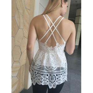 Criss Cross Cutwork Lace Cami Tank Top -