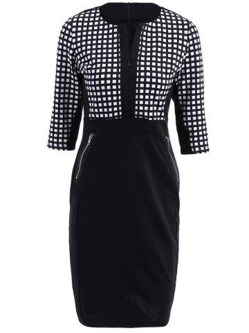 Unique OL Style V-Neck Checked Print 3/4 Sleeve Pencil Dress For Women