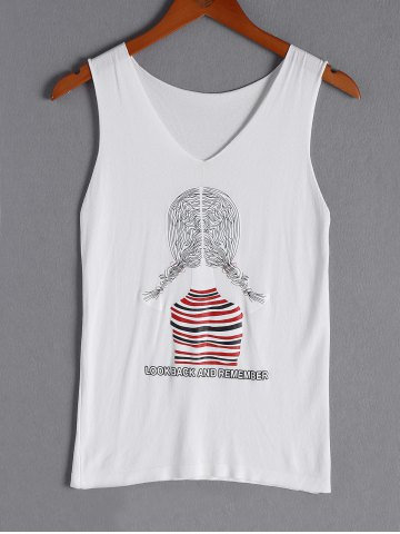 New Simple Print V-Neck Tank Top For Women