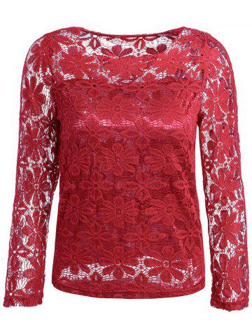 Online Fashionable Round Neck Lace Crochet Flowers Long Sleeve Women's T-Shirt