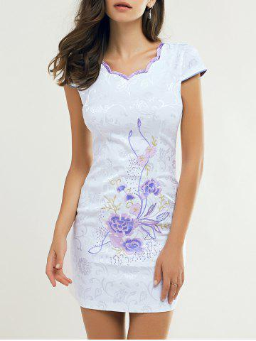 Shops Retro Wavy Cut Jacquard Embroidered Dress For Women