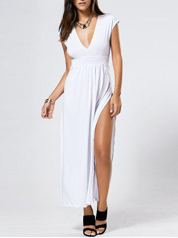 Discount Maxi Plunge Neck Slit Nigh Out Dress WHITE XL
