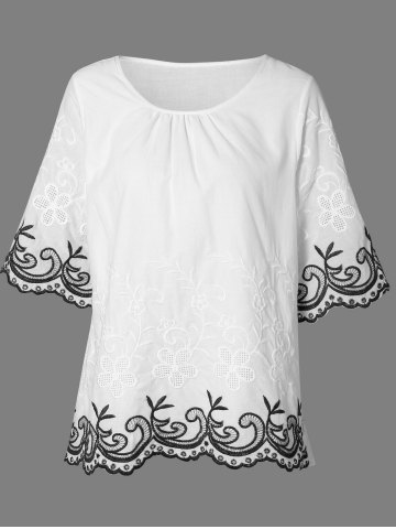 New Jewel Neck 3/4 Sleeve Embroidery Blouse