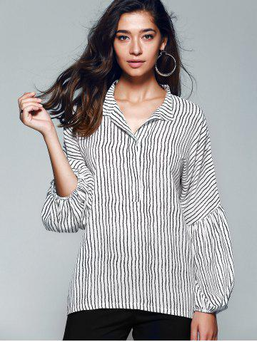 Outfits Lantern Sleeve Pinstriped Blouse