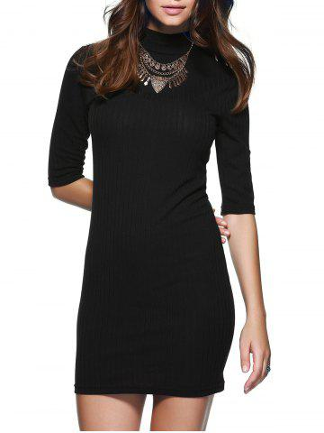 Chic Round Neck 1/2 Sleeve Skinny Sweater Dress BLACK M