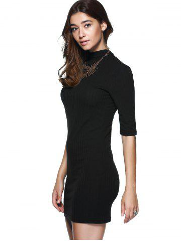 New Round Neck 1/2 Sleeve Skinny Sweater Dress - S BLACK Mobile