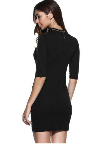 Trendy Round Neck 1/2 Sleeve Skinny Sweater Dress - S BLACK Mobile