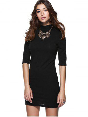 Outfits Round Neck 1/2 Sleeve Skinny Sweater Dress - S BLACK Mobile