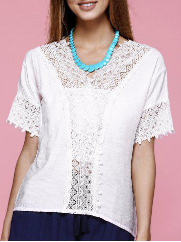 Buy Lace Trim V Neck Blouse